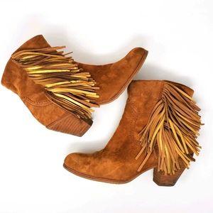 Sam Edelman Louie Tan Fringe Ankle Boots